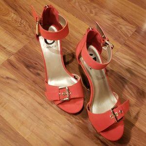 Guess Size 8M Orange Platform Ankle Buckle Sandals